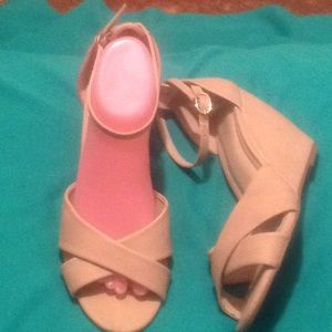 Cato 9W Beige Criss Cross Wedge Ankle Strap Sandal